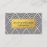"""Black &amp; Gold Chevron Pattern Business Card<br><div class=""""desc"""">Faux gold foil pattern in a modern chevron pattern on this business card perfect for cosmetologists,  hair stylists,  makeup artists,  wedding planner,  stylist.</div>"""