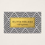 "Black &amp; Gold Chevron Pattern Business Card<br><div class=""desc"">Faux gold foil pattern in a modern chevron pattern on this business card perfect for cosmetologists,  hair stylists,  makeup artists,  wedding planner,  stylist.</div>"
