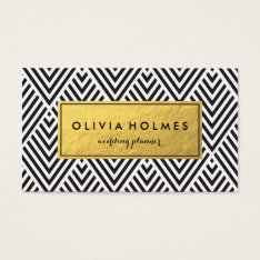 Black & Gold Chevron Pattern Business Card at Zazzle