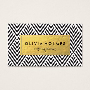 Professional Business Black & Gold Chevron Pattern Business Card