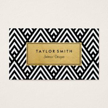 Professional Business Black & Gold Chevron Pattern Business Card