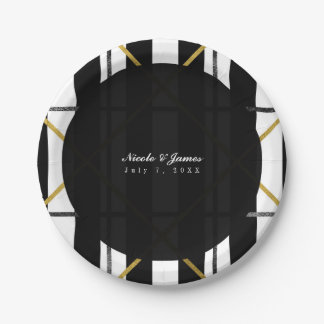 Black & Gold Chic Glam Geometric Party Paper Plate