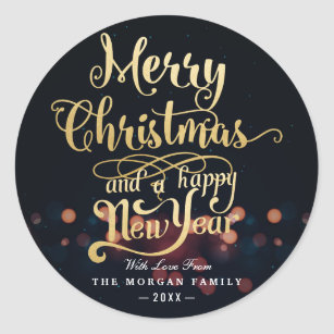 Black Gold Christmas Happy New Year Typography Classic Round Sticker
