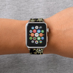 Black gold Christmas snowflake apple watch band