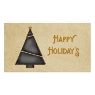 Black Gold Christmas Tree Happy Holidays Business Card Templates