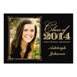 Black, Gold Class of 2014 Photo Graduation Invite
