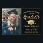 "Black Gold Class of 2019 Graduate Photo Graduation Lawn Sign<br><div class=""desc"">Add a personalized touch to college or high school graduation party decorations with this custom photo black and gold lawn sign. Simply place in yard to welcome guests. Design features a gold foil look mortar board, stylish modern typography, handwritten style script calligraphy, and a picture of the graduate, such as...</div>"
