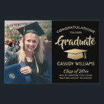 """Black Gold Class of 2019 Graduate Photo Graduation Lawn Sign<br><div class=""""desc"""">Add a personalized touch to college or high school graduation party decorations with this custom photo black and gold lawn sign. Simply place in yard to welcome guests. Design features a gold foil look mortar board, stylish modern typography, handwritten style script calligraphy, and a picture of the graduate, such as...</div>"""