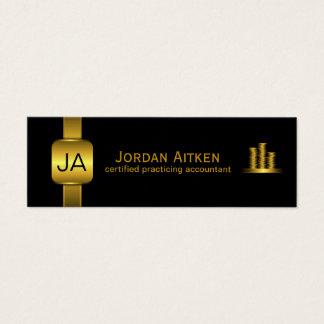 Black Gold Coins Small Vertical CPA Accountant Mini Business Card