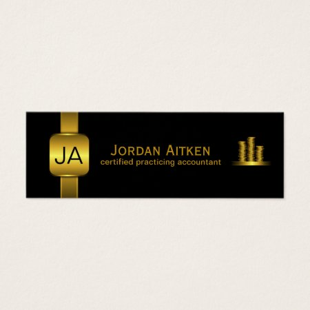 Mini accountant business cards business cards galore black with gold coins and metal button cpa accountant business cards template reheart Image collections