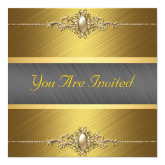 Black Gold Color Birthday Party Card