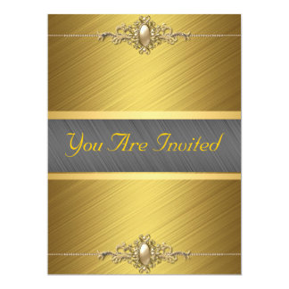 Black Gold Color Birthday Party 6.5x8.75 Paper Invitation Card