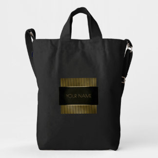 Black Gold Conceptual Minimal Name Geometry Duck Bag