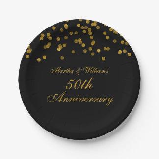 Black Gold Confetti 50th Anniversary Paper Plates