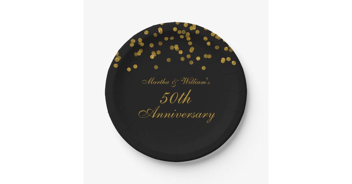 Black Gold Confetti 50th Anniversary Paper Plates Zazzle