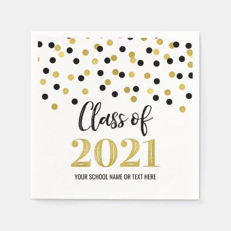 Black Gold Confetti Class of 2021 Graduation Napkins
