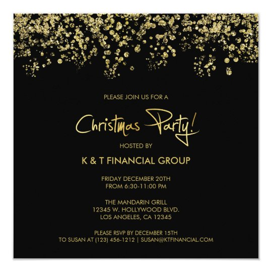 black gold confetti company christmas dinner invitation zazzle com