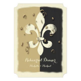 Black Gold Confetti Fleur de Lis event Invitation Personalized Invite