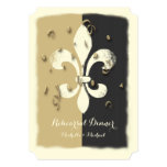 Black Gold Confetti Fleur de Lis event Invitation