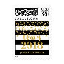 Black Gold Confetti Graduation 2018 Stamps