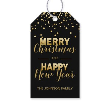 Professional Business Black Gold Confetti MERRY CHRISTMAS NEW YEAR Gift Tags