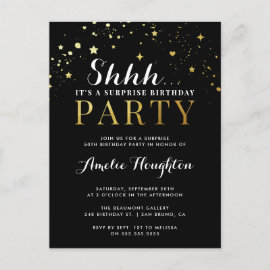 Black & Gold Confetti Shhh... Surprise Party Invitation Postcard
