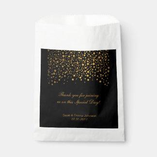 Black & Gold Confetti Wedding Favor Bag