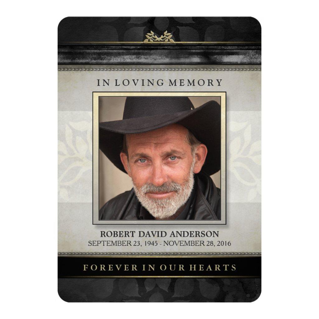 Black Gold Contemporary Memorial Service Invite