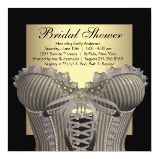 Black Gold Corset Bridal Shower Card