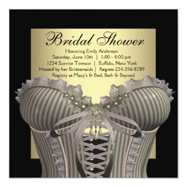InvitationCentral Black Gold Corset Bridal Shower Card