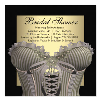 Black Gold Corset Bridal Shower Personalized Announcement