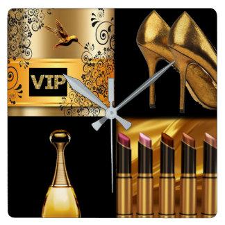 Black & Gold Cosmetics & Fashion Collage Square Wall Clock