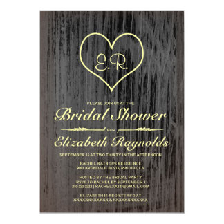 Black & Gold Country Bridal Shower Invitations