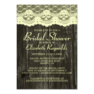 Black & Gold Country Lace Bridal Shower Invitation Personalized Invites