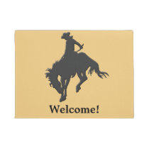 Black Gold Cowboy Bucking Horse Welcome Doormat