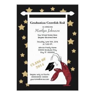 Black Gold Crawfish / Lobster Stars Graduation Card