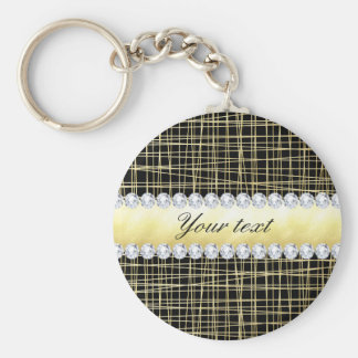 Black Gold Criss Cross Lines and Diamonds Keychain