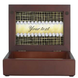 Black Gold Criss Cross Lines and Diamonds Memory Box
