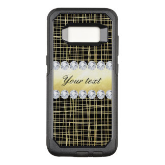 Black Gold Criss Cross Lines and Diamonds OtterBox Commuter Samsung Galaxy S8 Case