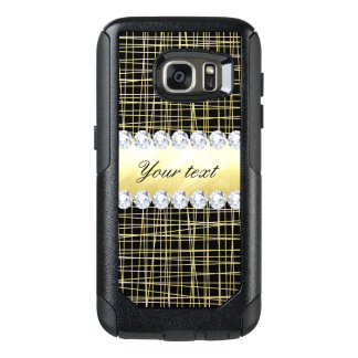 Black Gold Criss Cross Lines and Diamonds OtterBox Samsung Galaxy S7 Case