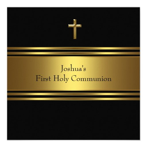 Black Gold Cross Boys First Communion Custom Announcement