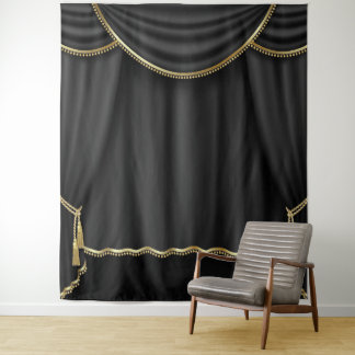 Black Gold Curtain Photo Backdrop Banner Tapestry