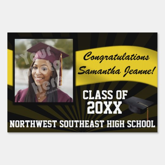 Black/Gold Custom Photo Graduation Yard Sign