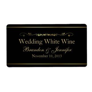 Black & Gold Custom Wedding Mini Wine Labels