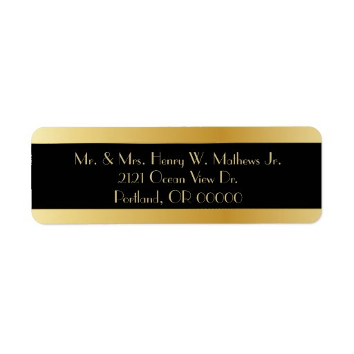 black  u0026 gold custom wedding return address labels
