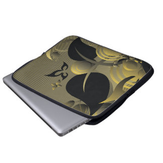 Black & Gold Cute Cool Girly Retro Floral Laptop Computer Sleeves