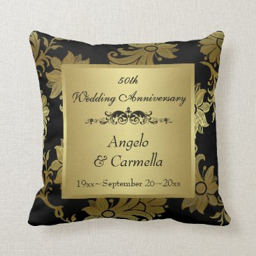 Black, Gold Damask 50th Anniversary PHOTO Pillow