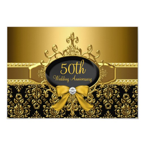Black gold damask th anniversary rsvp card zazzle