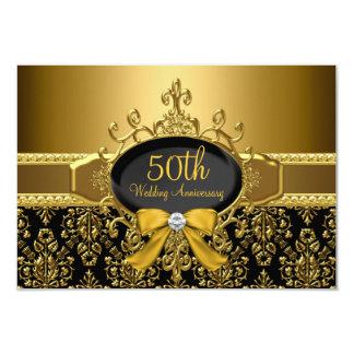 Black & Gold Damask 50th Anniversary RSVP Card