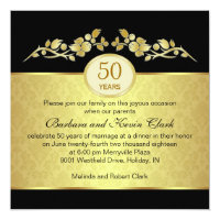 Black & gold, damask 50th Wedding Anniversary Card
